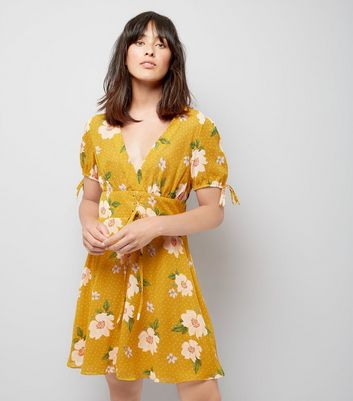 Yellow Floral Spot Print V Neck Dress