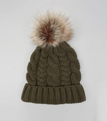 Khaki Faux Fur Pom Pom Cable Bobble Hat