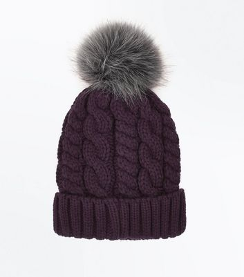 Purple Faux Fur Pom Pom Bobble Hat