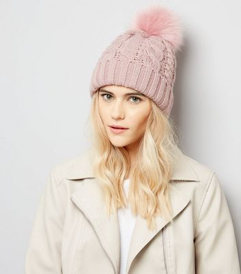 Pink Faux Fur Pom Pom Bobble Hat