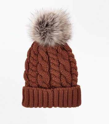 Orange Faux Fur Pom Pom Beanie Hat