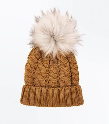 Yellow Faux Fur Pom Pom Bobble Hat