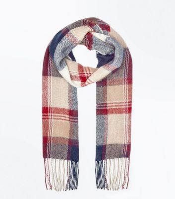 Red Check Fringed Scarf