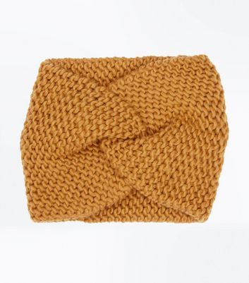 Mustard Knit Twist Front Headband