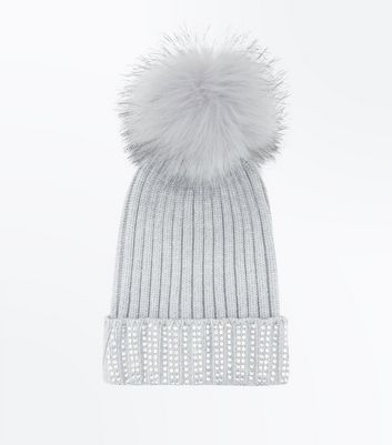 Grey Diamanté Trim Bobble Hat