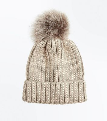 Mink Diamante Embellished Bobble Hat