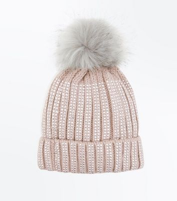 Pink Diamante Embellished Bobble Hat
