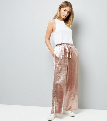 Pink Vanilla Pink Satin Wide Leg Trousers