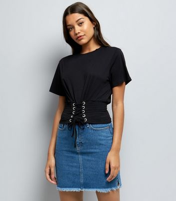 Black Shirred Corset Waist T-Shirt