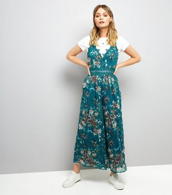 Green Tropical Print Culotte Jumpsuit