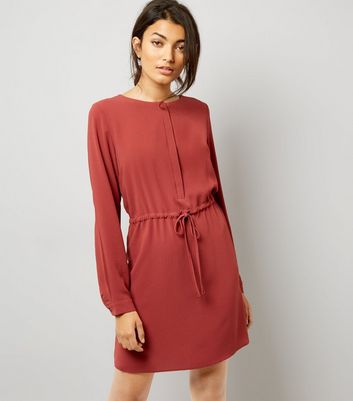 Light Brown Grandad Collar Dress