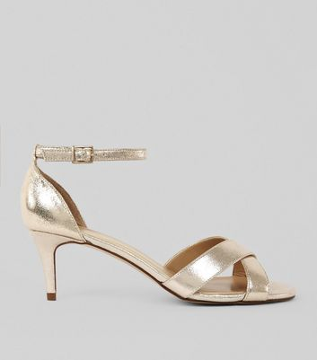 Gold Metallic Kitten Heel Cross Strap Sandals