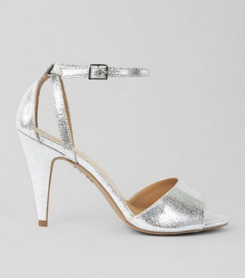 Silver Cut Out Side Cone Heel Sandals