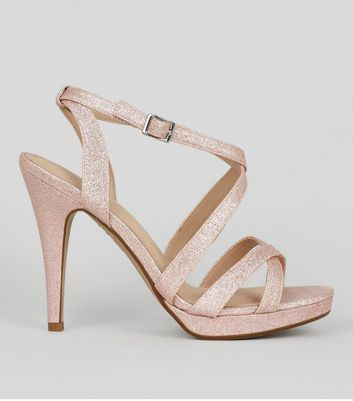 Rose Gold Comfort Glitter Cross Strap Heeled Sandals