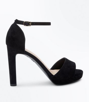 Black Comfort Suedette Block Heel Sandals