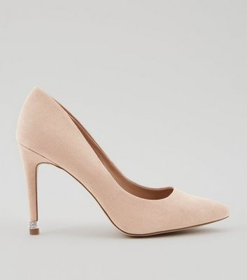Cream Diamante Embellished Pointed Court Shoes