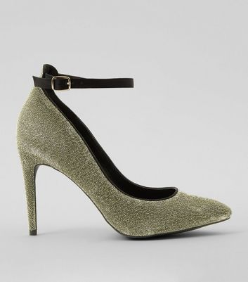 Gold Glitter Pointed Court Heels