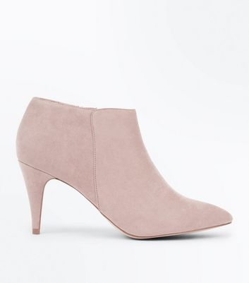 Light Brown Suedette Cone Heel Shoe Boots