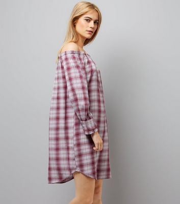 Red Check Bardot Neck Dress