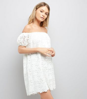 Cream Lace Bardot Mini Dress