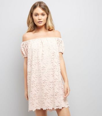 Light Coral Lace Bardot Mini Dress