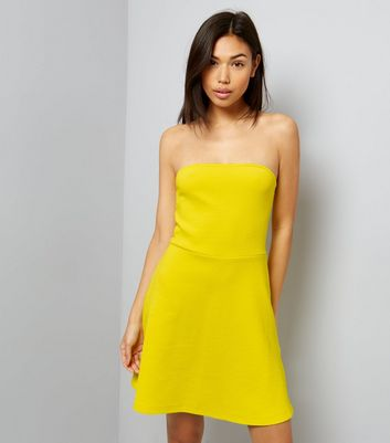 Yellow Bandeau Skater Dress