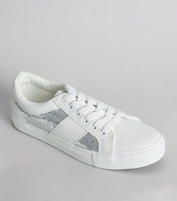 White Sequin Panel Lace Up Trainers