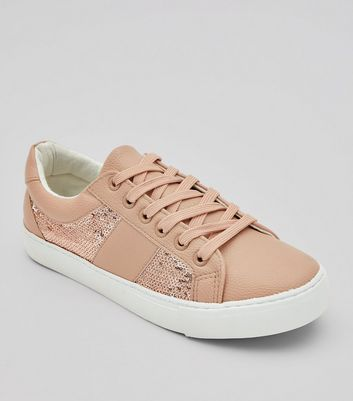 Pink Sequin Panel Lace Up Trainers