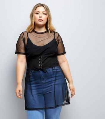 Curves Black Mesh Corset T-Shirt Dress