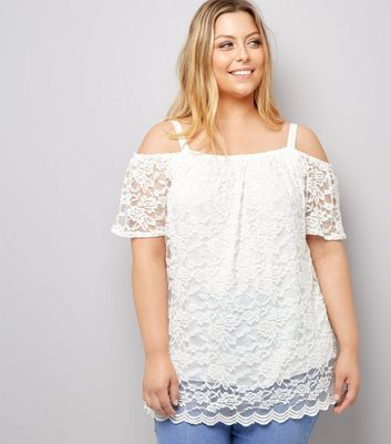 Curves Cream Lace Cold Shoulder Top