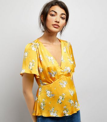 Yellow Floral Print Satin V Neck Top