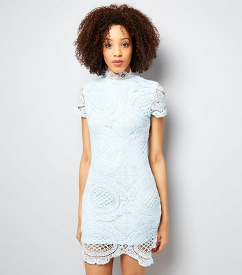 AX Paris Pale Blue Lace Bodycon Dress
