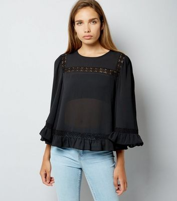 Black Lace Trim Bell Sleeve Top
