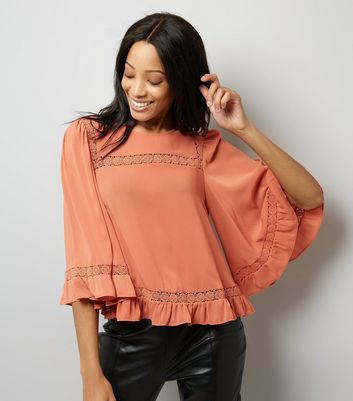 Coral Lace Trim Bell Sleeve Top