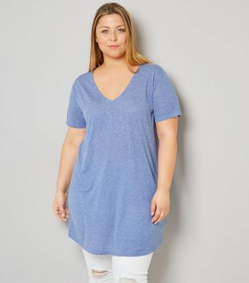 Curves Blue Textured Oversized T-Shirt