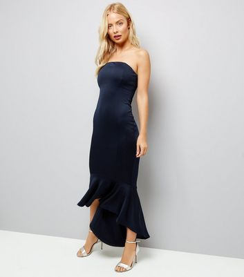 AX Paris Navy Strapless Fish Tail Dress