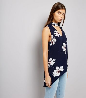 AX Paris Blue Floral Print Choker Neck Top