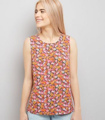 Pink Floral Print Tie Back Sleeveless Top