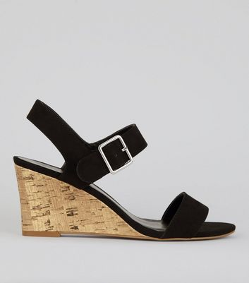 Black Ankle Strap Cork Wedge Heeled Sandals