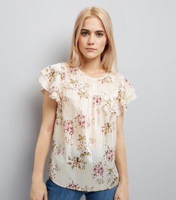 Cream Floral Print Pleated Frill Sleeve Top