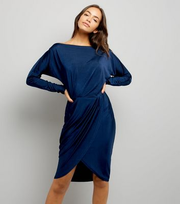 AX Paris Navy Wrap Skirt Dress