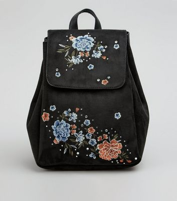 Black Suedette Floral Embroidered Mini Backpack