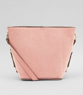 Shell Pink Suedette Bucket Bag