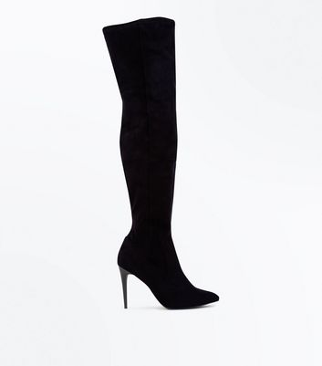 Black Suedette Stiletto Over The Knee Boots