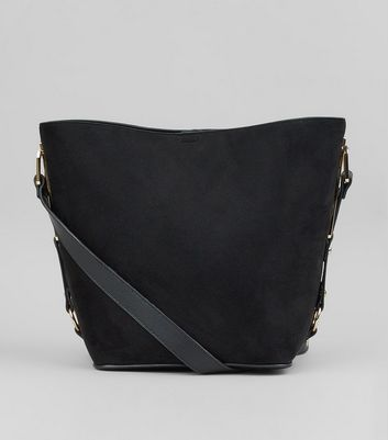 Black Suedette Side Detail Bucket Bag