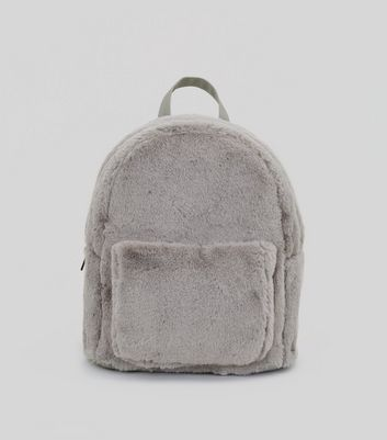 Grey Faux Fur Backpack