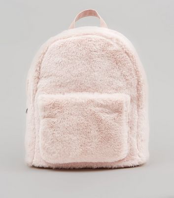 Shell Pink Faux Fur Mini Backpack
