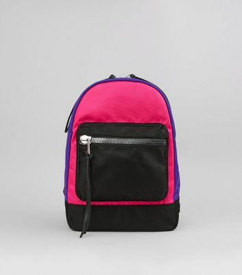 Pink Neon Colour Block Backpack