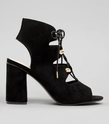 Wide Fit Black Suedette Lace Up Sandals