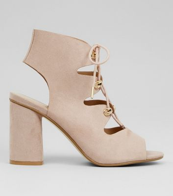 Wide Fit Cream Suedette Lace Up Sandals